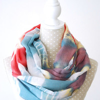 Soft Blue and Pink Tie and Dye Infinity Scarf Loop Scarf with Leopard Heart Print Great with your outfit