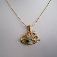SALE: Evil Eye Necklace / 18K Gold Plated Copper Frame and 18K Gold Plated Chain (Electroplating, Color Protection) / Christmas Gift / 13