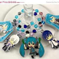 Vocaloid inspired geeky wine glass charms set of 5 Anime charms handmade wine charms party wine charms