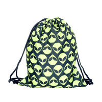 Drawstring Backpack in alien pattern in yellow black color for Cinch sack