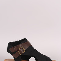 Soda Fabric Open Toe Buckled Strap Cutout Wedge Sandal