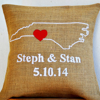 Natural Burlap Wedding Anniversary Gifts Personalized Throw Pillow Cover