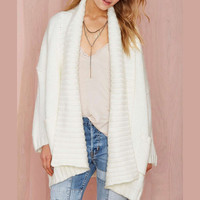 Solid color fashion lapel cardigan sweater