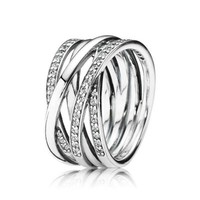Authentic 925 Sterling Silver Eternity Entwined Silver & Zirconia Ring For Women Wedding Engagement Gift Fine Pandora Jewelry