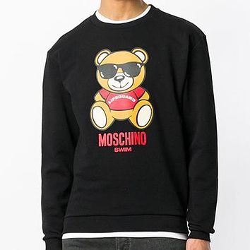 Moschino Fashion New  letter print couple leisure keep warm long sleeve top sweater Black
