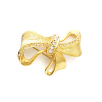 Gold bow brooch, vintage rhinestone brooch, gold brushed statement jewelry, bridesmaid jewelry, bow pin, vintage gold jewelry, sweet 16 gift