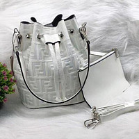 Fendi tide brand retro women's shoulder bucket bag Messenger bag white