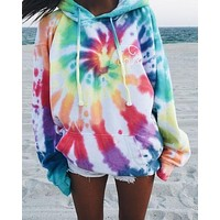 New loose long-sleeved printed hooded sweater tie dye colorful rainbow color