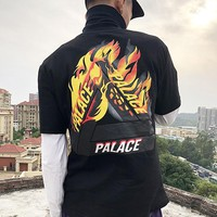 PALACE 2019 new street fashion flame printing men and women half sleeve t-shirt Black