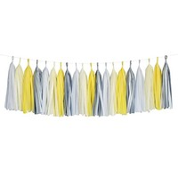 Yellow Gray White Ivory Grey Tassel Garland Banner Party Decoration Wedding