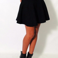 (amh) Knit black skater skirt