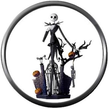 Standing At Gate Jack Skellington Halloween Town Nightmare Before Christmas 18MM - 20MM Snap Jewelry Charm