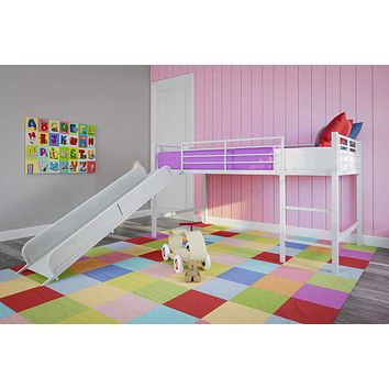 DHP 5513098 Junior Twin Metal Loft Bed with Slide, Multifunctional Design, White with White Slide White and White