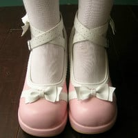 Sweet Lolita Dolly Cosplay Princess Bow Tie Mary Jane Heel Handmade Pink White