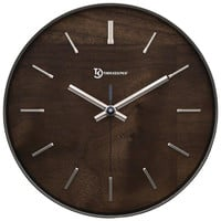 """Timekeeper 11"""" Hastings Walnut Wall Clock With Chrome Accent"""