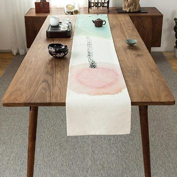 Ink Lotus Red Table Runner