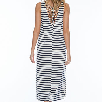 Sleeveless Striped Jersey Back Binding Midi Dress - Navy/White