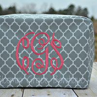 Grey Quatrefoil Makeup Bag, Embroidered Bag