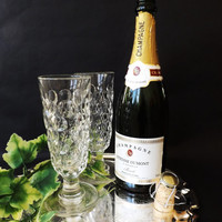 2 Antique Champagne Flutes, Pair Crystal Toasting Glasses, 6 Available, Victorian Ale Rummer, Prosecco Glass, Dimple Cut Wine Glass