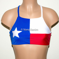 Texas Flag High Neck Halter Bikini Top, Criss Cross Adjustable Swimwear Bikini Top, 4Th Of July Bathing Suit, Festival Top Spandex Bikini