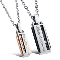 New Arrival Gift Shiny Stylish Jewelry Titanium Couple Accessory Chain Diamonds Pendant Necklace With Christmas Gift Box [9509252100]