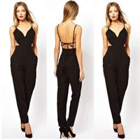 2016 Rompers Women Jumpsuit Summer Style solid black Casual Overalls stylish backless Jumpsuit long Feminino