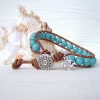 Turquoise Bracelet Bohemian Jewelry Leather Wrap Bracelet Beaded Bracelet Blue Wrap Bracelet Brown Leather Jewelry Boho Hippie Bracelet