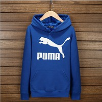 Puma youth long-sleeved sports hoodies fashion printing loose coat  Precious blue