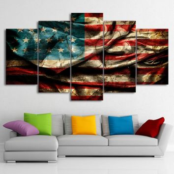 5 Piece Picture Frame HD Printed USA Flag Wall Pictures