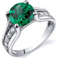 Simulated Emerald Solitaire Ring Sterling Silver Rhodium Nickel Finish Sizes 5 to 9