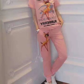 """""""BURBERRY"""" Women's Leisure Fashion Letter Deer Printing  Short Sleeve Trousers Two-Piece Casual Wear"""
