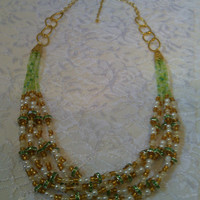 Multi-strand Beaded Necklace - Green and Gold Necklace - Statement Necklace