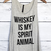 Whiskey is my Spirit Animal Tank Top in Gray