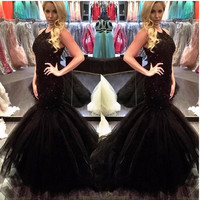 Black Lace Mermaid Prom Dresses 2017 Halter Neck With Lace Appliques Beads Tulle Floor Length Long Formal Evening Party Dress