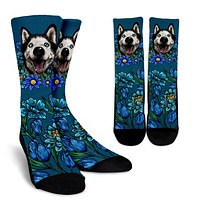 Illustrated Siberian Husky Socks
