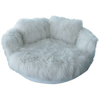 Tibetan Longhaired Sheepskin Round Loveseat