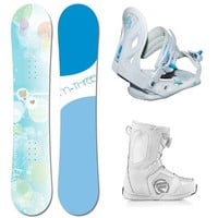 M3 Krystal Complete Women's Snowboard Package with matching M3 Solstice Women's Bindings and Flow Vega BOA Boots Board Size 140