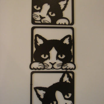 Cats Peeking 3 Piece Set Metal Wall Sculpture