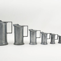 Pewter Measuring Cup, Pewter Measures, PELTRATO Pewter, Tankard Measuring Cups, Antique Italian Pewter, Rustic Farmhouse, Collectible Pewter