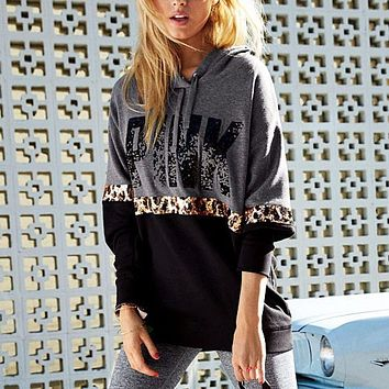 Letter Print Hooded Long Sleeve Stitching Leopard Sweater Women Tops