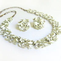 Vintage Star White Enamel Flower Necklace and Earring Set, Clear Rhinestone Necklace, Floral Necklace, Silver Tone Metal, Demi Parure