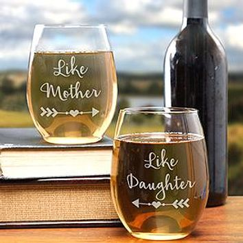 Engraved for Her Stemless Wine Glass Set