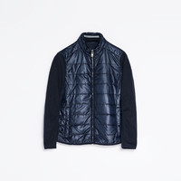 QUILTED JACKET WITH KNITTED SLEEVES
