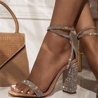 Elegant Rhinestone Women Sandals Square High Ankle Cover Heel Round Toe Office Dance Buckle Strap Party Heels Silver Sandals