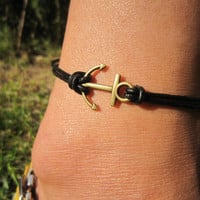 Antiqued Bronze Anchor Bracelet, Anchor Anklet, Real Leather Cords, Summer Trending Accessories, Personalized Friendship Graduation Gifts
