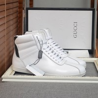 Gucci Men's Leather Fashion Casual High Top Sneakers Shoes