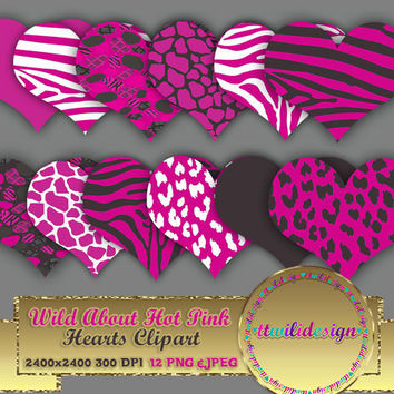 """80% OFF SaleWILD About Hot Pink Hearts 8"""" clipart commercial use, scrapbooking, vector graphics, printable, Instant Download, Zebra Leopard"""
