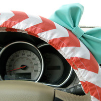 Coral Chevron Steering Wheel Cover with Matching Seafoam Blue Bow