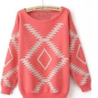 Pink Aztec Pullover Sweater from Seek Vintage