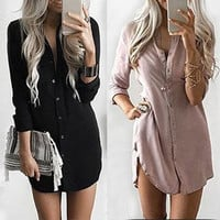 Winter Long Sleeve Casual Shirt Dress Mini Vintage Party Dress